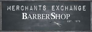 merchants exchange barbershop logo